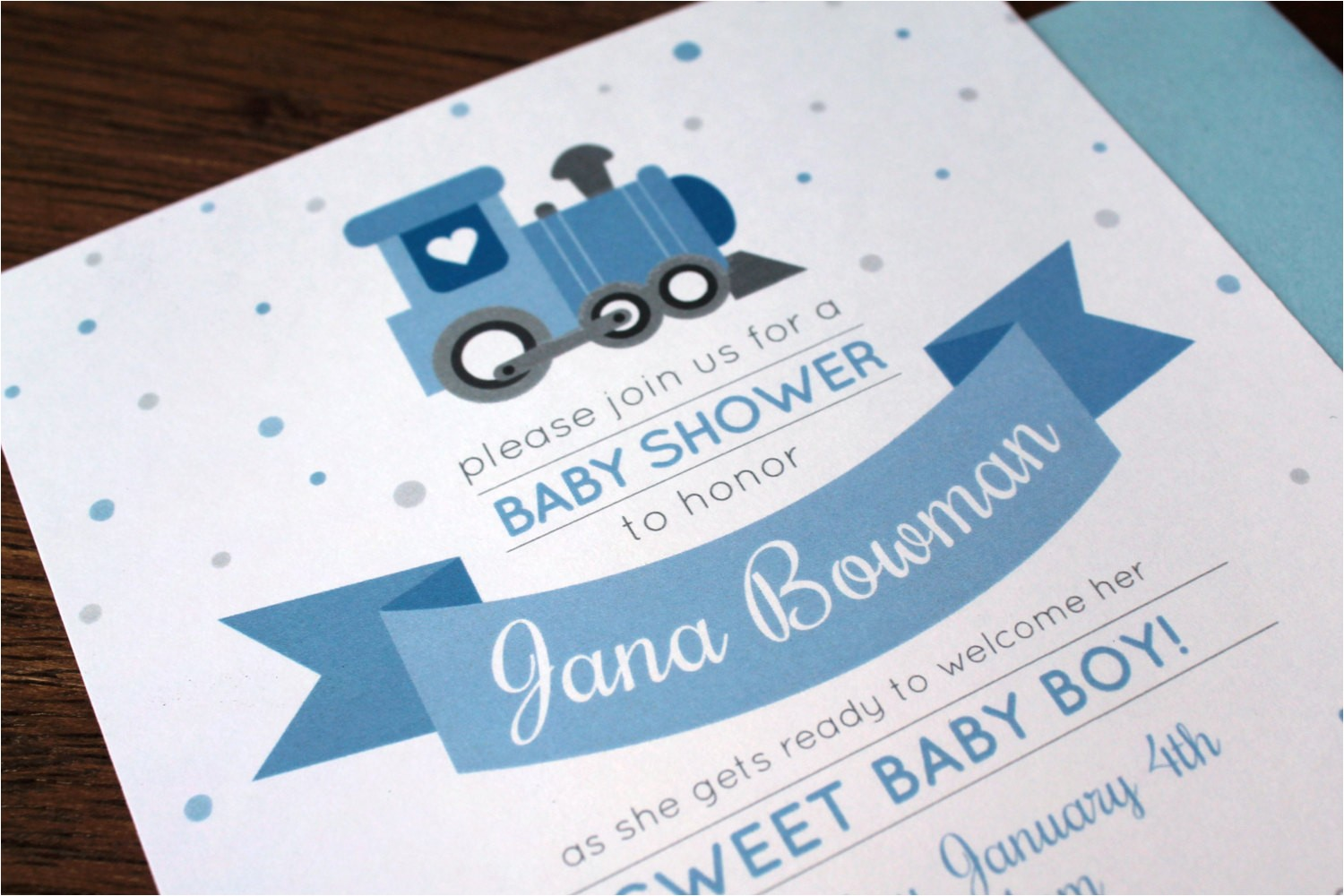 train themed baby shower invitations