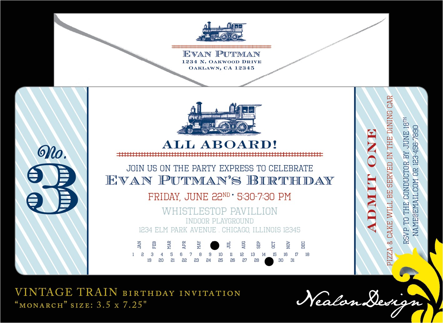 vintage train ticket birthday