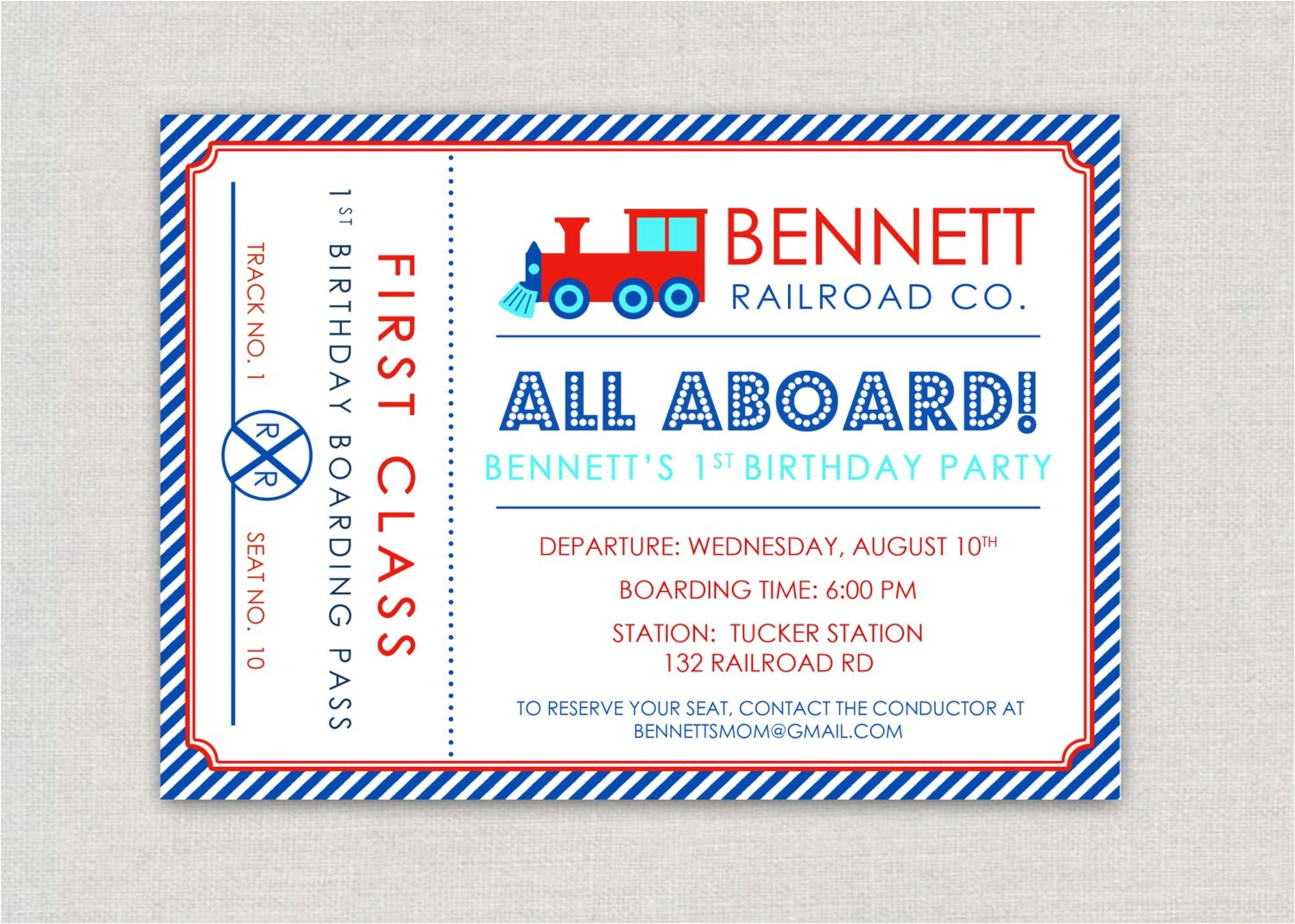 train tickets birthday invitations