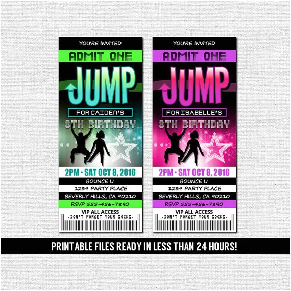 jump ticket invitations bounce house