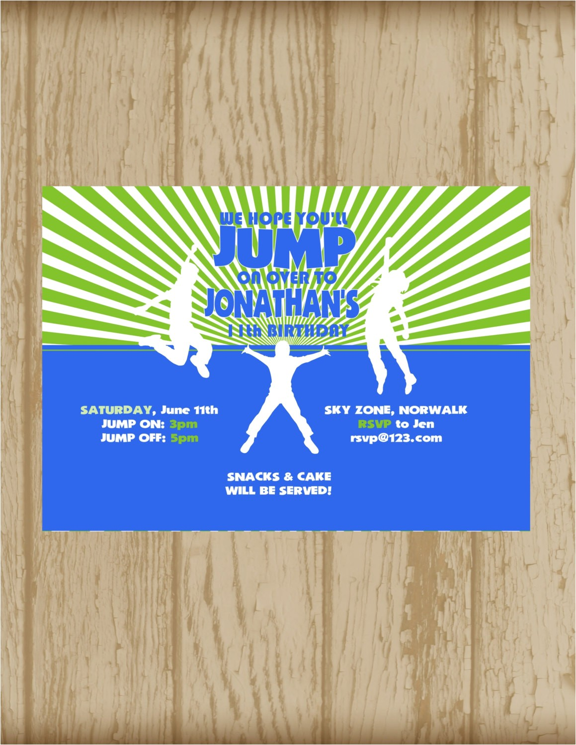 trampoline park party invitation