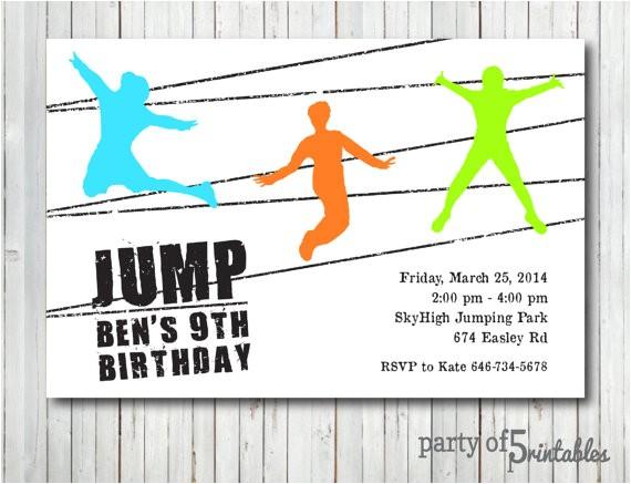 jump birthday invitation trampoline park