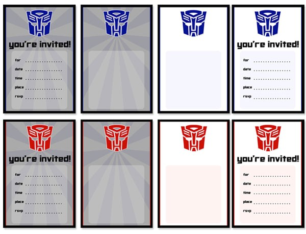 printable transformers birthday party invitations