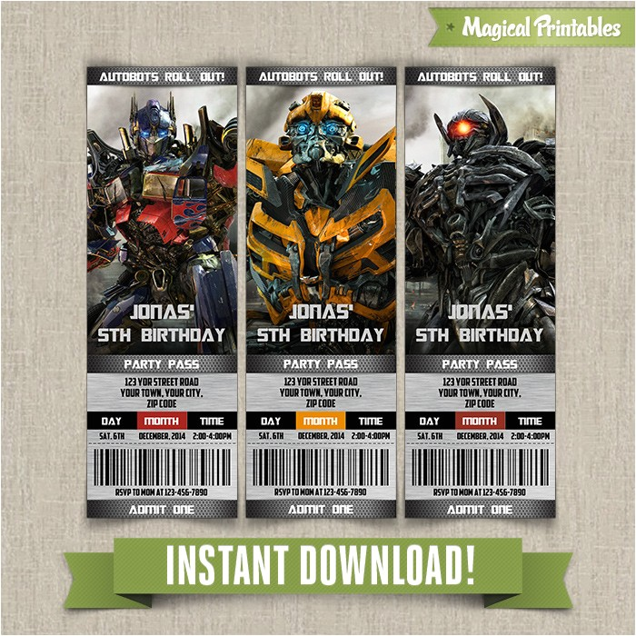 transformers birthday ticket