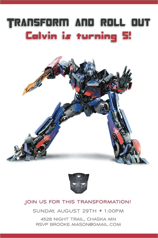 Transformer Birthday Invitations Templates Cool Transformer Birthday Invitations Free Printable