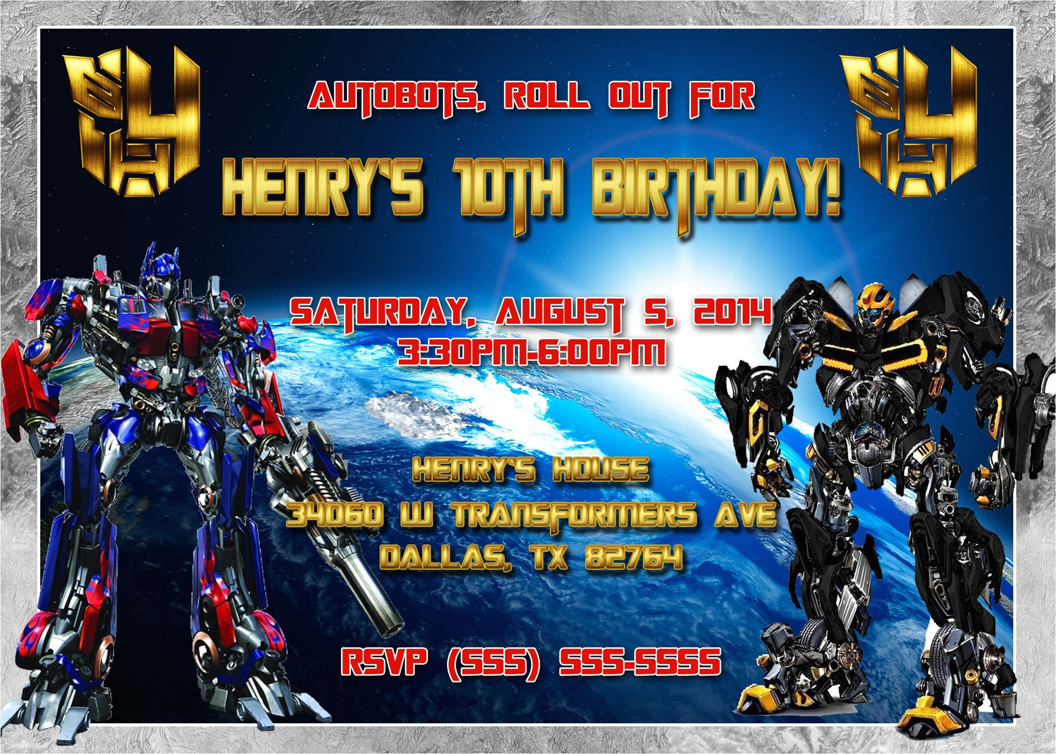 transformers birthday invitation