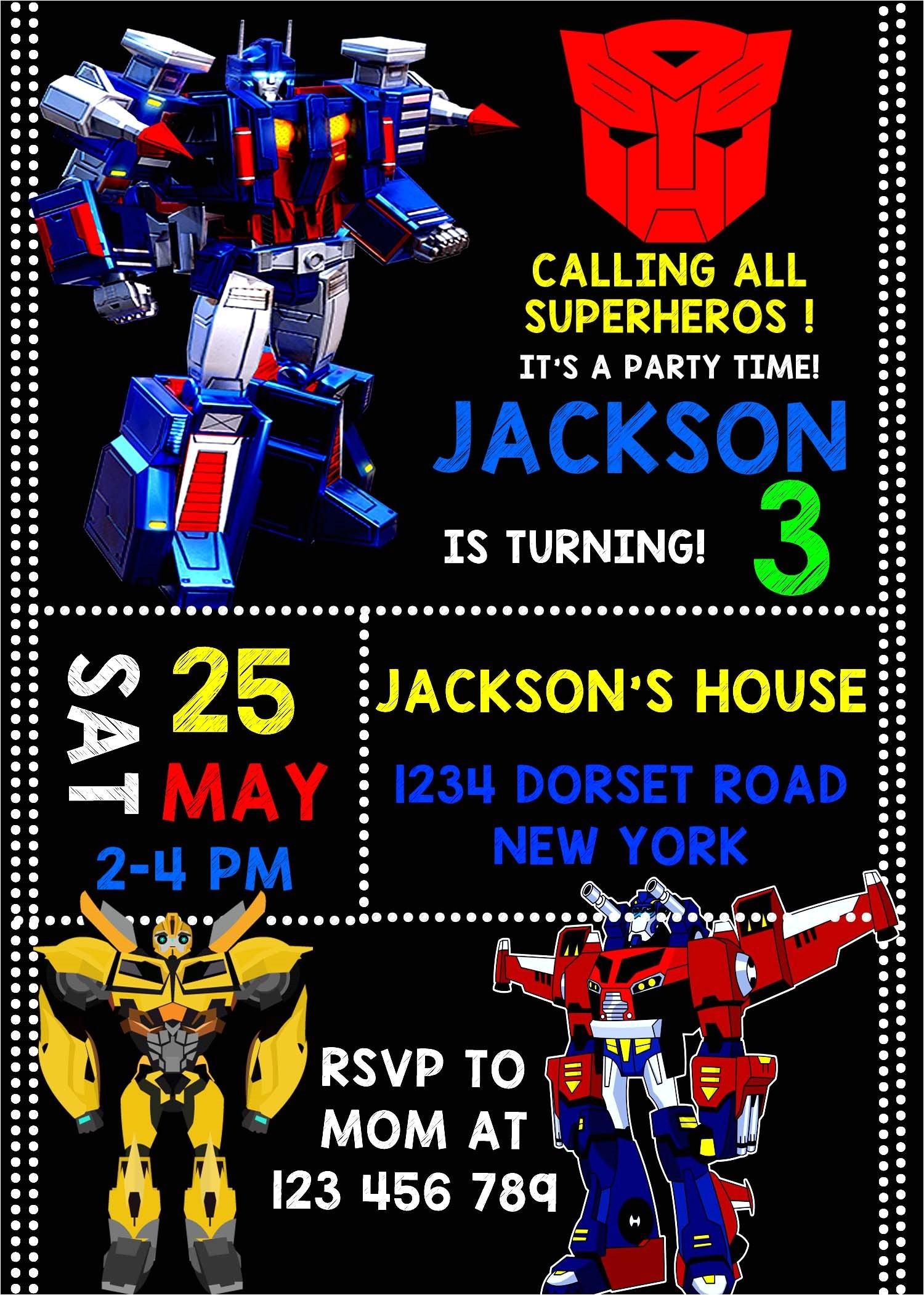 wonderful transformer birthday invitations designs