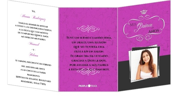 Tri Fold Quinceanera Invitations Fabulous Pink and Gray Tri Fold Quinceanera Invitation