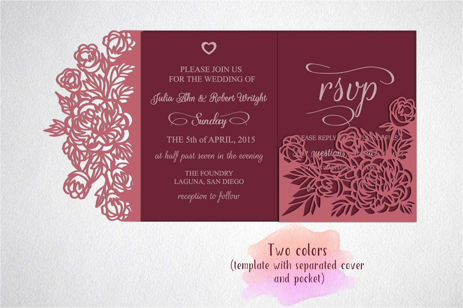 78759 tri fold wedding invitation svg cricut laser cut template card svg peonies roses cameo silhouette pocket quinceanera templates