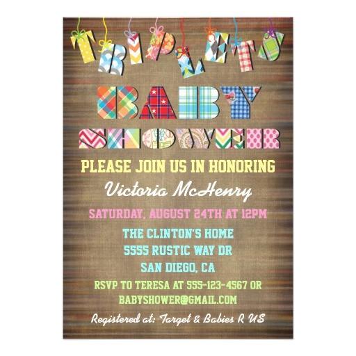 triplet baby invitations