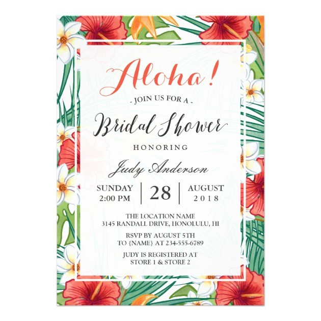 bridal shower invitations hawaiian