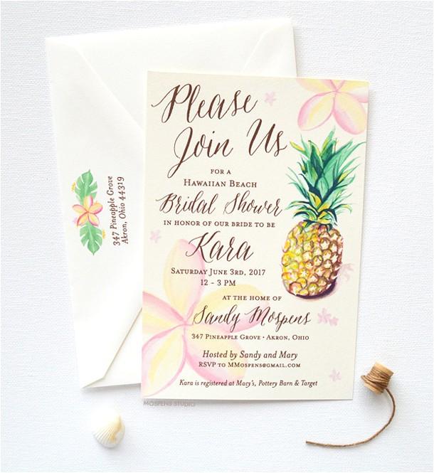 tropical bridal shower invitations details