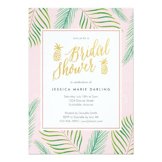 tropical bridal shower invitations in pink gold
