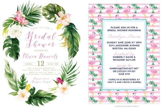 tropical bridal shower invitations details