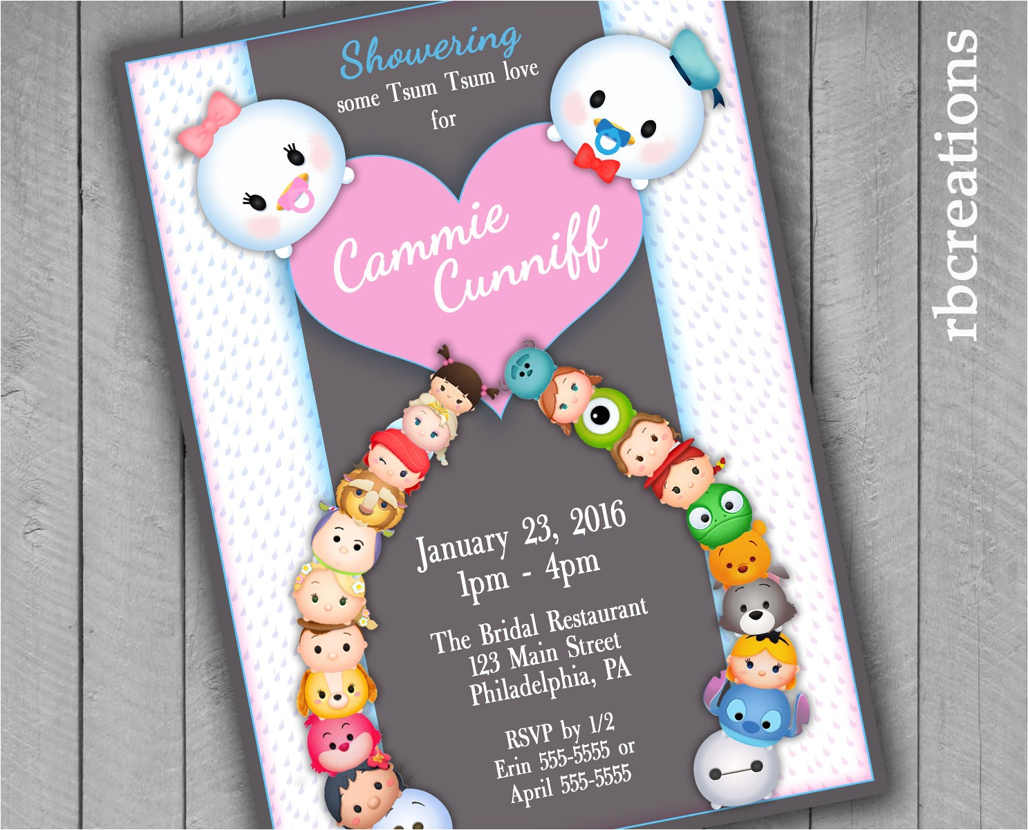 tsum tsum baby shower invitations tsum