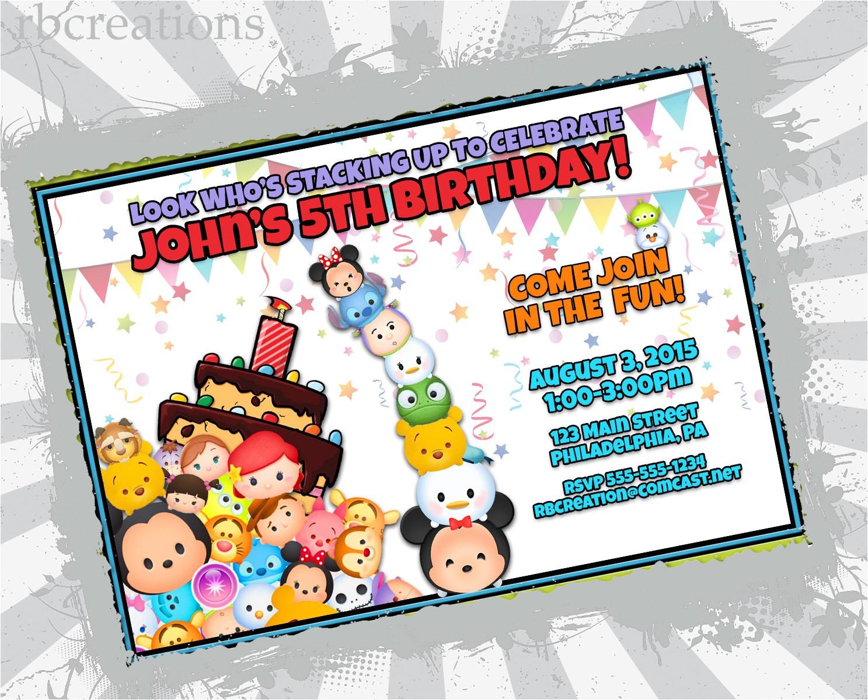 tsum tsum birthday invitation tsum tsum
