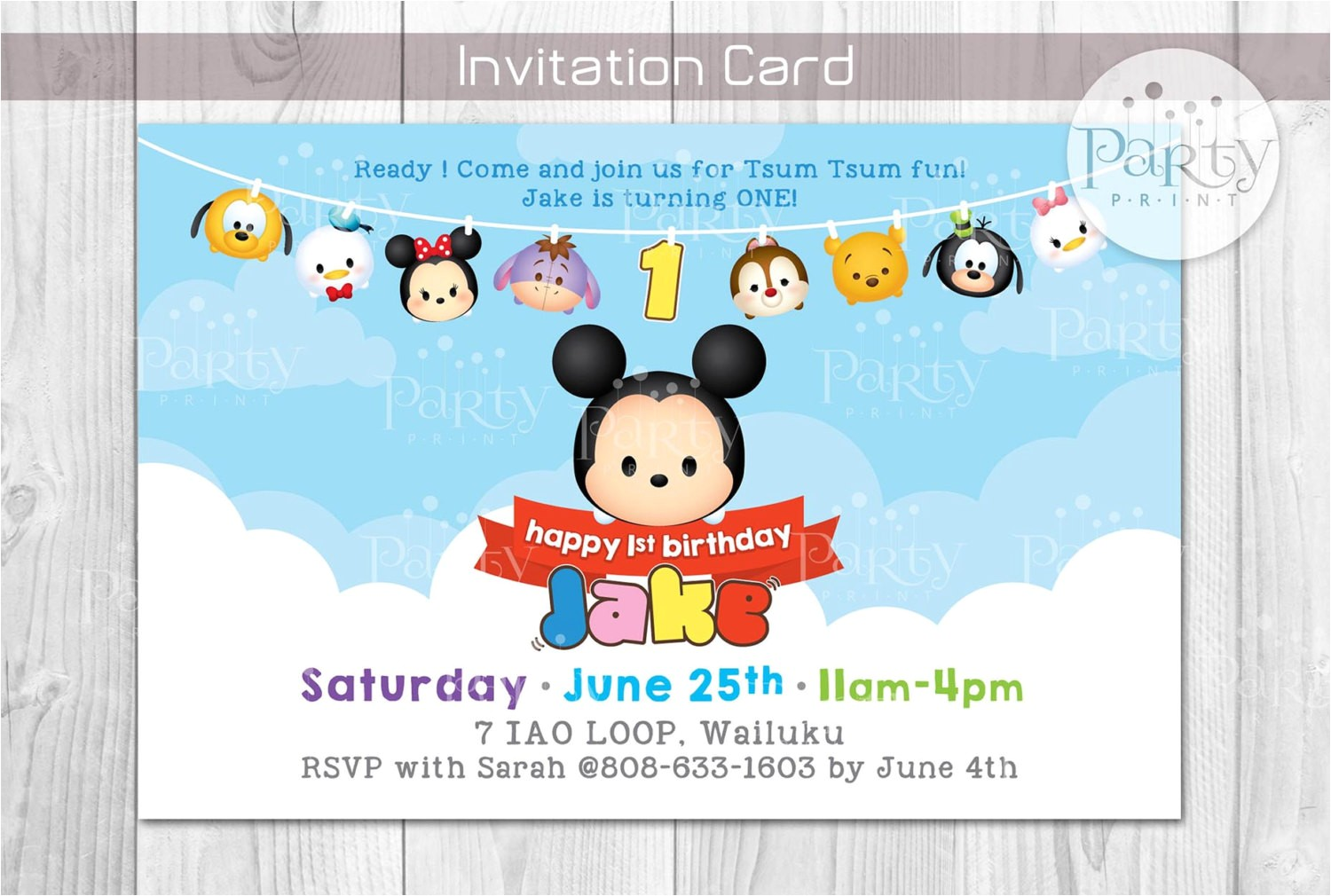 tsum tsum inspired birthday invitation