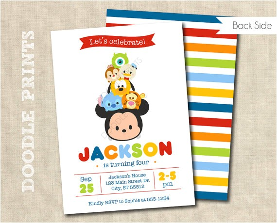 tsum tsum mickey birthday party invitation