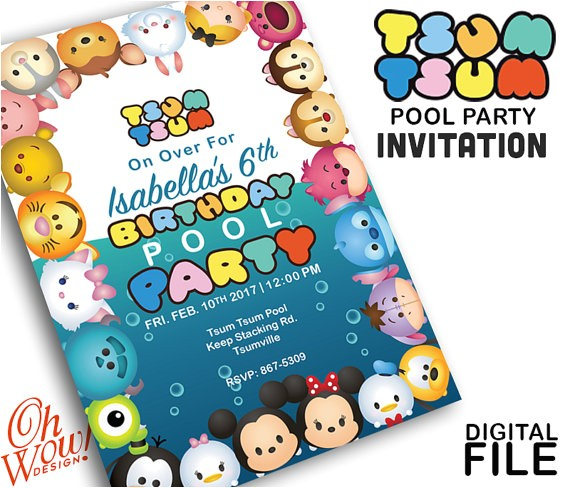 tsum tsum pool party invitation