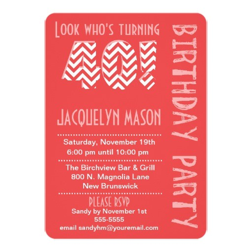 turning 40 invitations