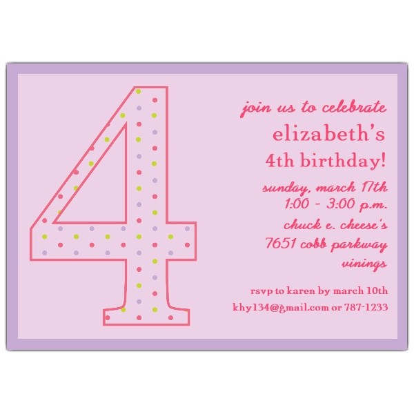 4th Birthday Girl Dots Invitations p 602 57 1037