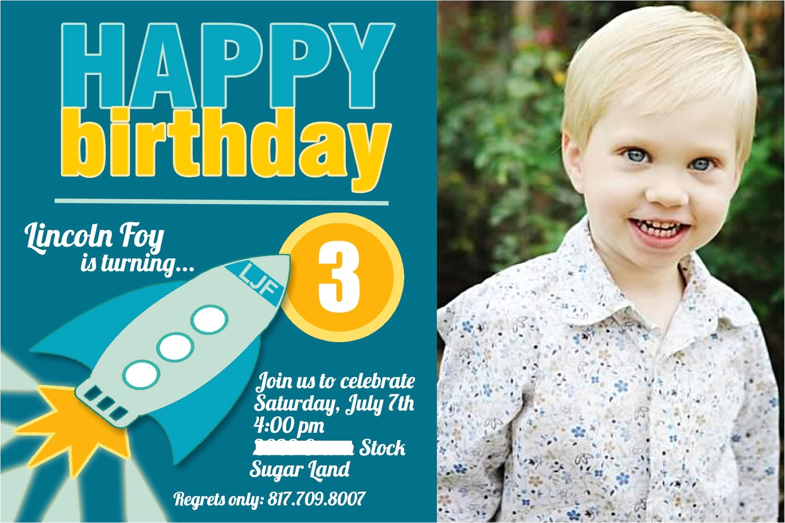 3 years old birthday invitations wording