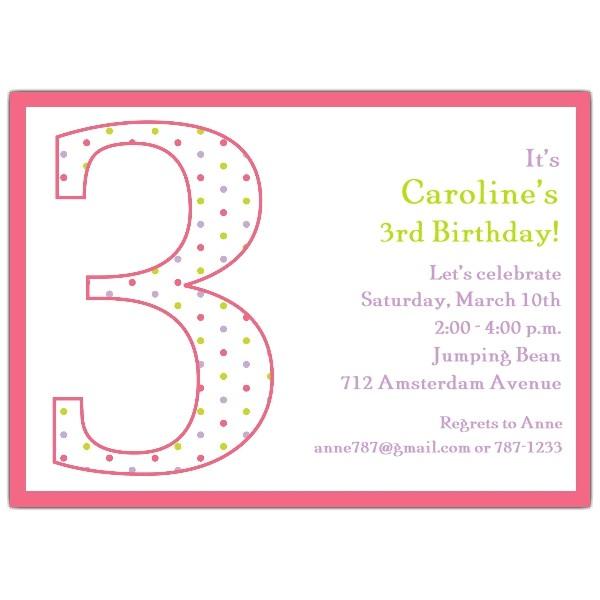 3rd birthday girl dots invitations p 602 57 1036