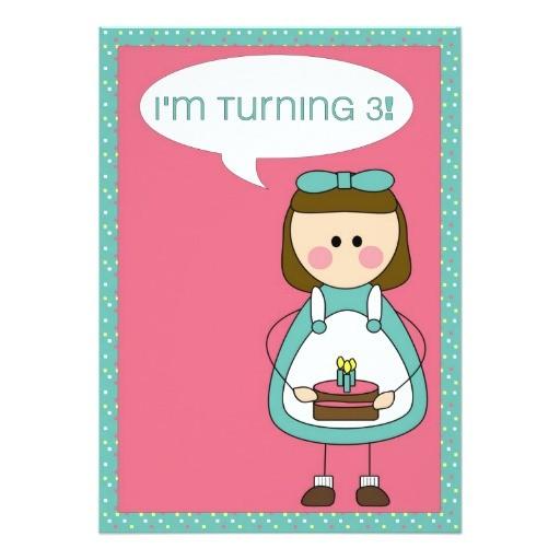 birthday invitation girl turning 3 161393746244173826