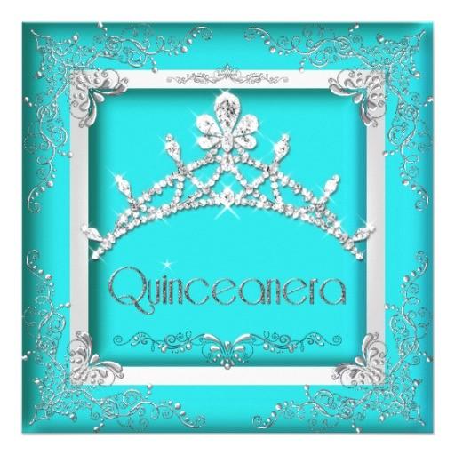turquoise quinceanera invitations