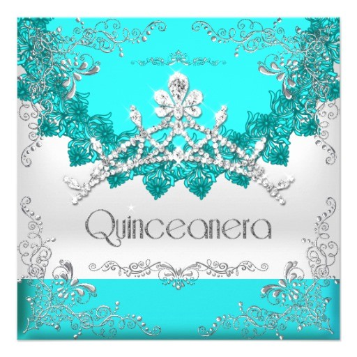 quinceanera 15th turquoise white tiara 15 party invitation 161412882305060065