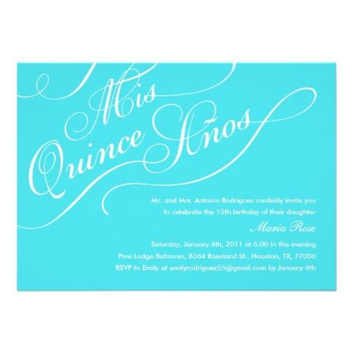 turquoise blue elegant quinceanera invitations 161163350692423889