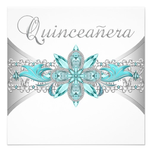 turquoise blue silver quinceanera invitations 161401832448096749