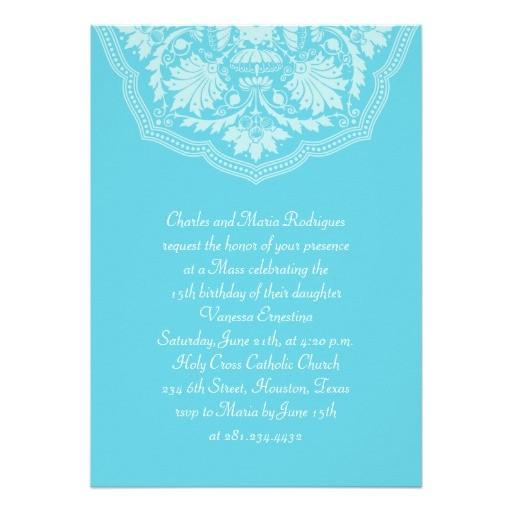 turquoise latin pattern quinceanera invitations 161747895218992881