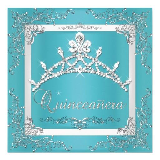 turquoise silver tiara quinceanera 15th birthday invitation 161328453440018364