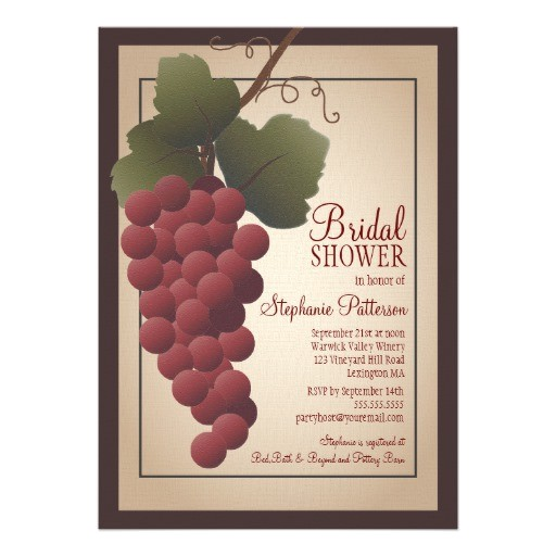 old world tuscan grapevine wine bridal shower invitation