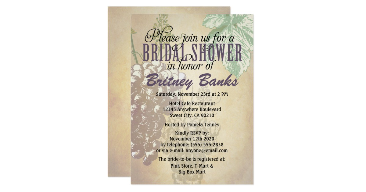 tuscan winery vineyard bridal shower invitations