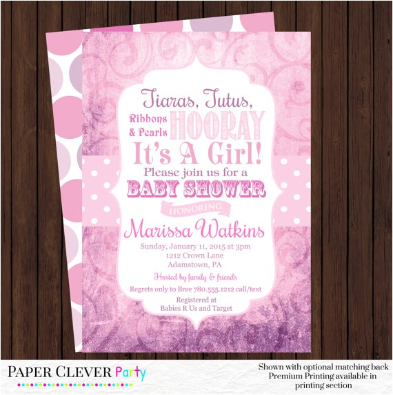 tiaras tutus girls baby shower invitations