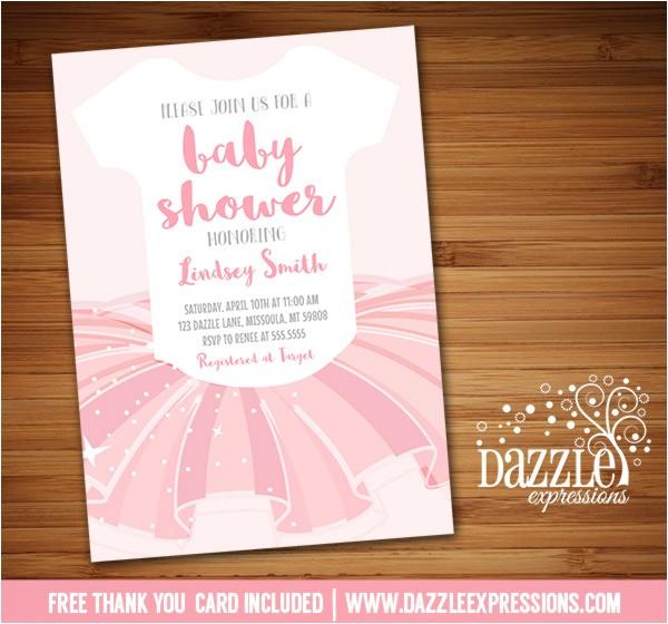 tutu baby shower invitations