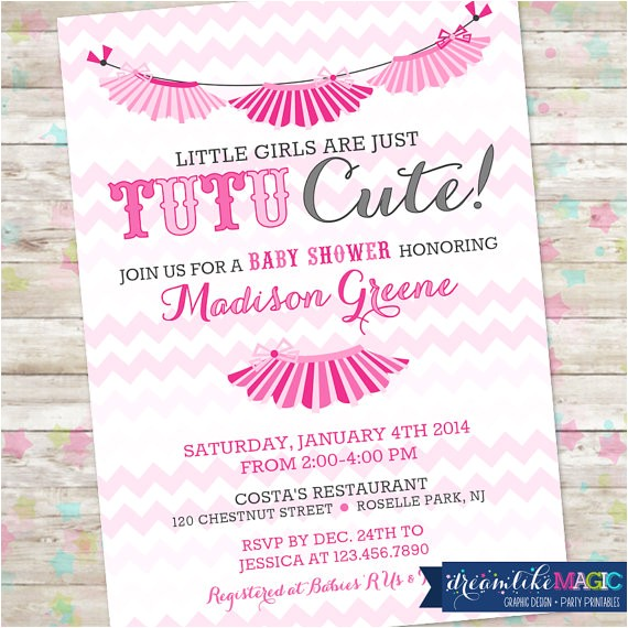 baby girl shower invitation chevron tutu
