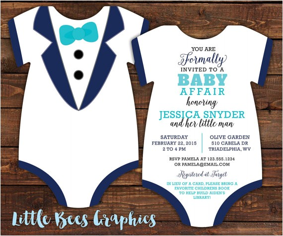 10 tuxedo baby shower invitations black