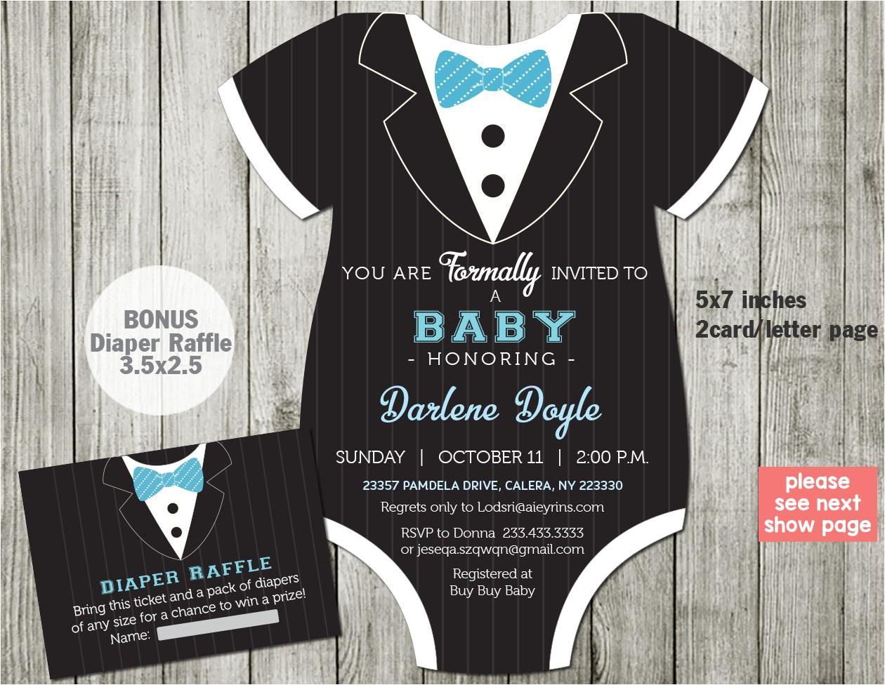 tuxedo baby shower invitation template