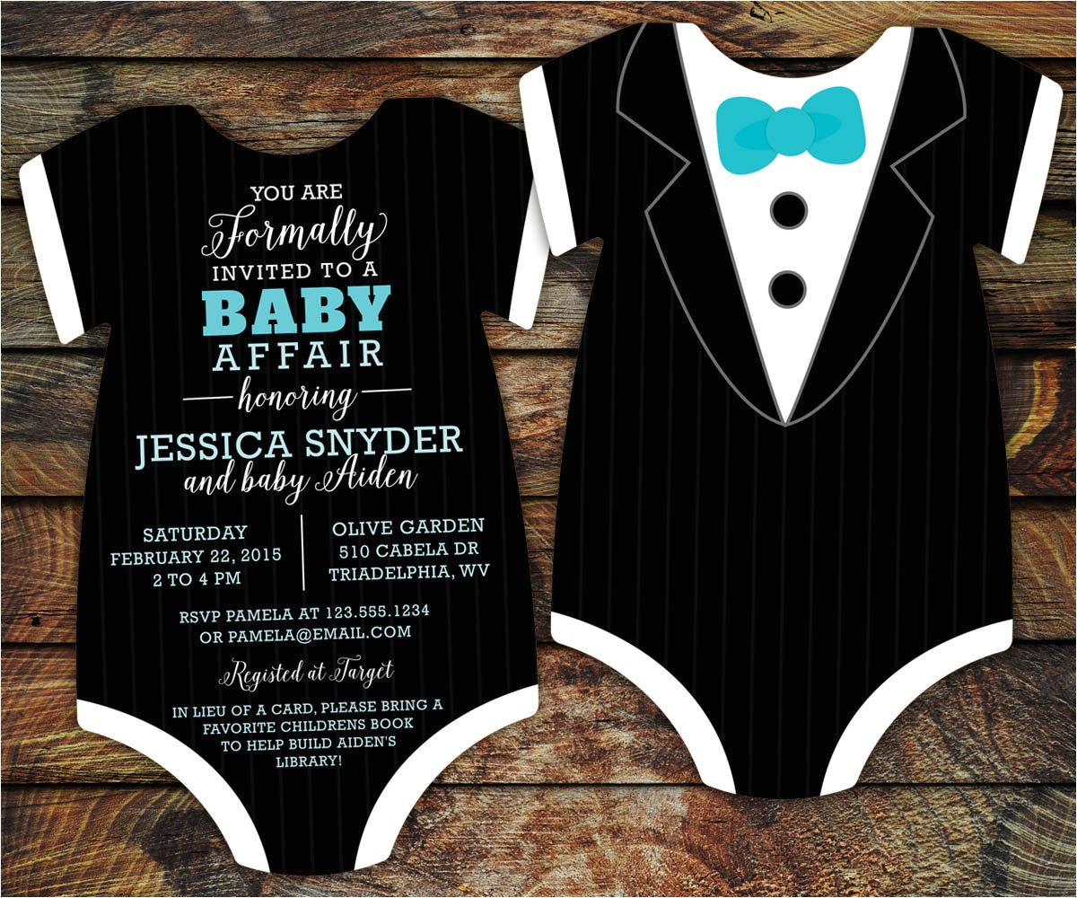 10 tuxedo baby shower invitations black