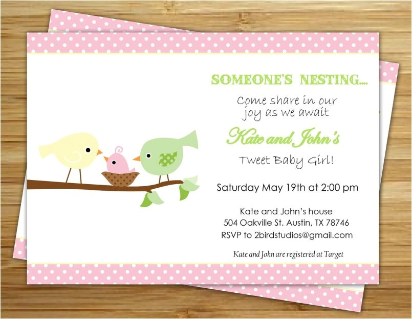 colors sophisticated pink bird baby shower invitations with hi