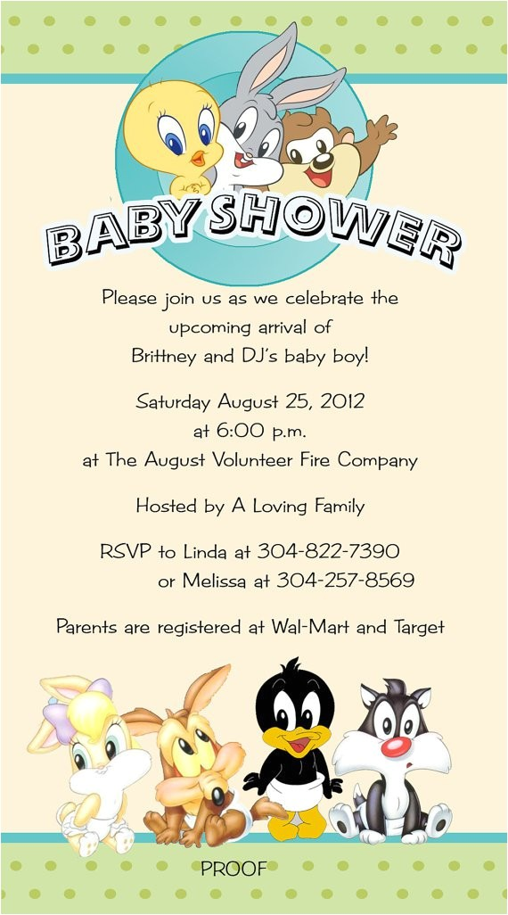 tweety bird baby shower invitations