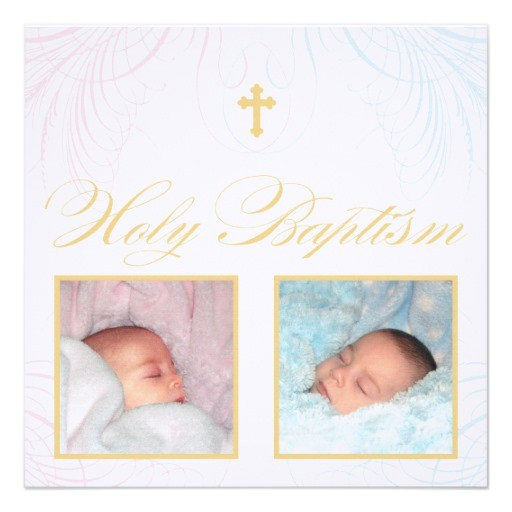 boy and girl twins photo baptism invitation