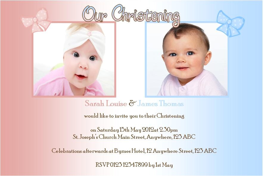personalised boy girl twins christening photo invitations 836 p