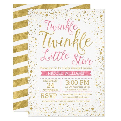 sweet pink girl baby shower invitations