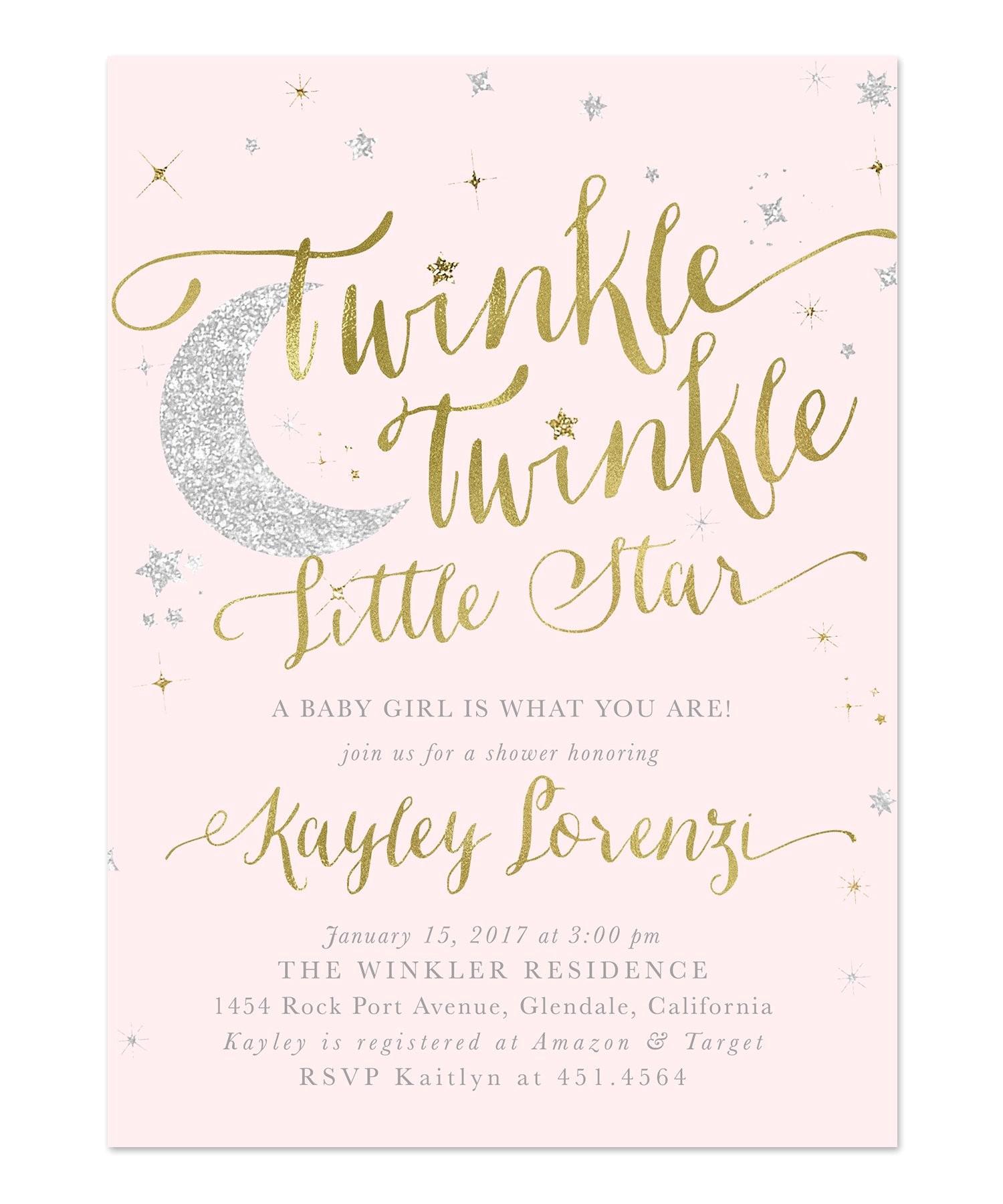 Twinkle Twinkle Little Star Girl Baby Shower Invitations Twinkle Twinkle Little Star Girl Baby Shower or Sprinkle