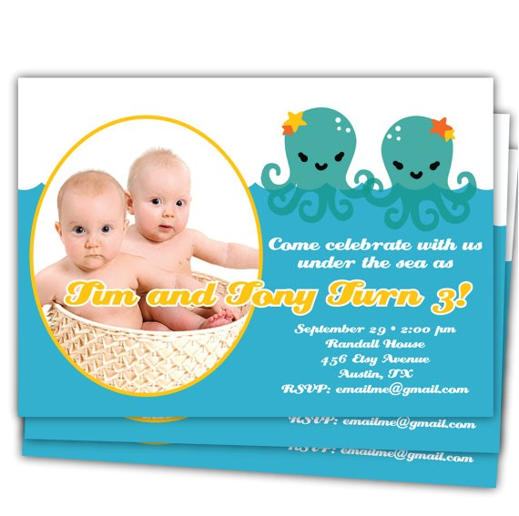 twins under the sea birthday 1st 2nd 3rd