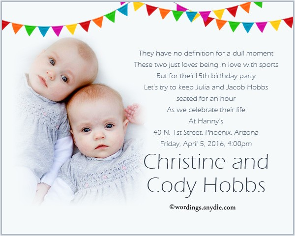 twin birthday party invitation wording mh ments